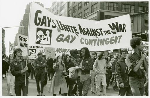 Gay contingent, Vietnam War protest, 1971. Photo by Diana Davies, from the NY Public Library.