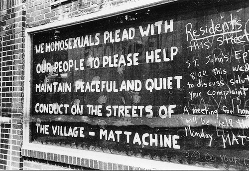 Fred McDarrah - A plea from the Mattachine Society, hand-painted on the window of the Stonewall Inn the weekend of the riots, June 1969