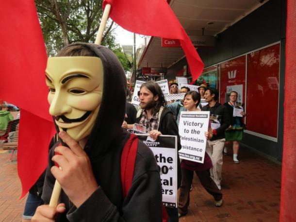 Guy Fawkes mask, associated with Anonymous, worn at a Wellington demo in solidarity with Palestine