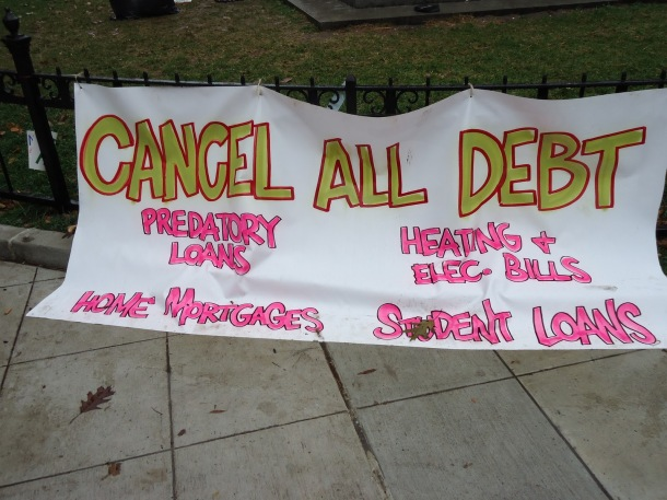 Cancel All Debt: banner from Occupy Wall Street