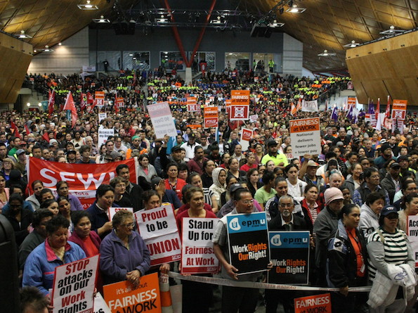 20,000 union members rally on 20 October 2010 to protest the first round of National's attacks on workers' rights.