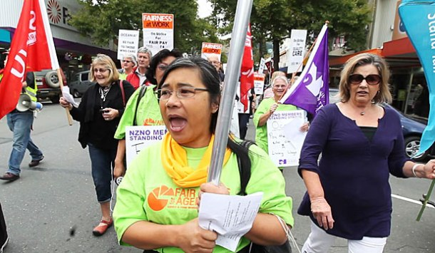 Aged care workers on strike.
