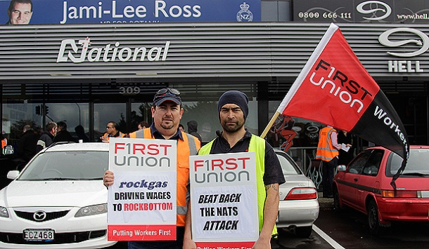 Unionised Rockgas workers target Jami-Lee Ross' office.