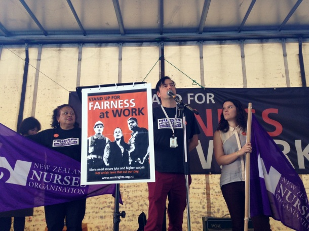 Grant Brookes speaking as an NZNO delegate at Wellington Fairness at Work rally.