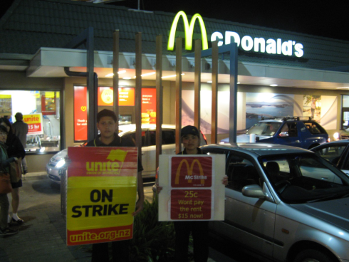 Hassan and Marienne start the strike at Wairau Park, Auckland