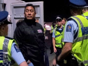 Hone Harawira, facing arrest for defending public housing at Glen Innes.