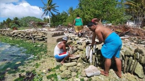 Inhabitants of Kiritimati coral atoll building a stone seawall in their struggle against rising seas