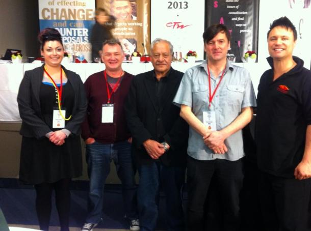MANA at CTU biennial conference (including Fightback members Heleyni and Grant)