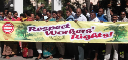 300 workers strike in Fiji
