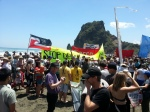 Piha banners on beaches action against deep-sea oil drilling.