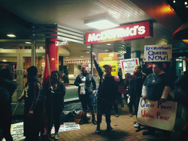Action in solidarity with queer worker mistreated by McDonalds during 2013 industrial dispute.
