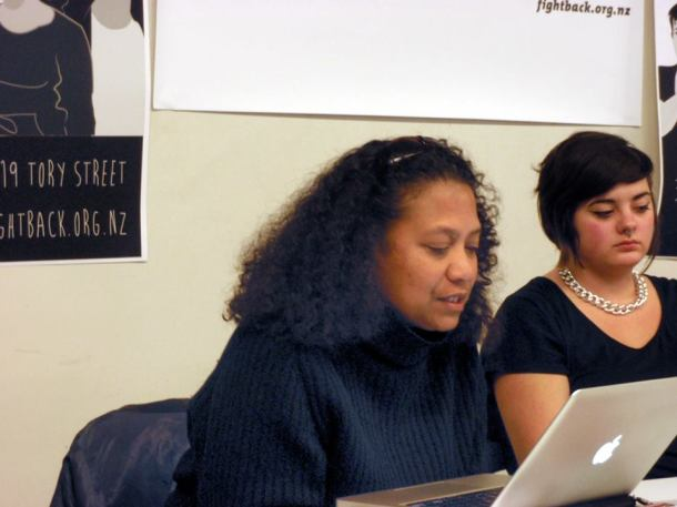 Teresia Teaiwa speaks at Capitalism: Not Our Future (photograph by Bronwen Beechey).