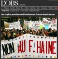 L'Observateur cover on anti-National Front demonstrations in 2002