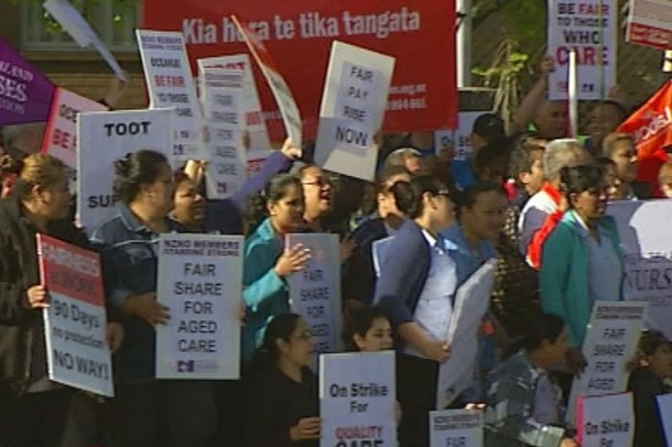 Aged care workers on strike