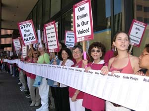 Nurses in Los Angeles protest US labor laws denying freedom of association, 2006.