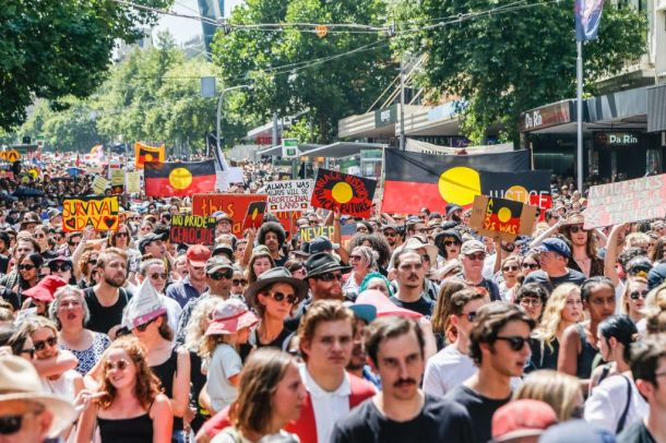 Aboriginals communities stage a protest on Australia Day